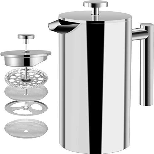[1 Liter / 1000 ml} 8 cups Kaffeebereiter - Doppelwandige Edelstahl - Kaffeemaschine - Französische...