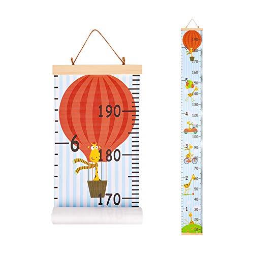 Basumee Kinder Messlatte Wandbehang Kindermesslate für Kinderzimmer Dekoration aus Holz und Leinwand, Giraffe