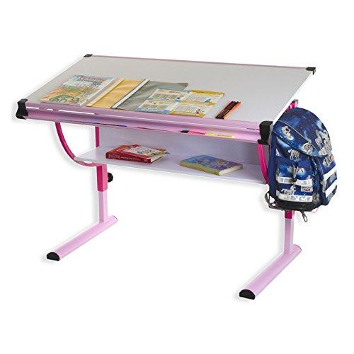 IDIMEX Kinderschreibtisch Schülerschreibtisch Carina in rosa pink, Schreibtisch höhenverstellbar und...