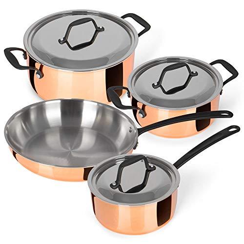 Chefkoch® Kochtopfset verkupfert inkl. Bratpfanne, 4er-Set | DREI Töpfe, eine Bratpfanne | dreilagiger...