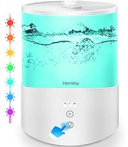 Homasy Ultraschall Luftbefeuchter,2.5L Top-Füllung Humidifier mit 7 Farben LED,Leise Aroma-Diffusor für...