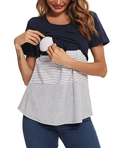 Akalnny Damen Stillshirt Nursing T-Shirt Tops Kurzarm Schwangerschaft Mutterschaft Stillen Umstandskleidung...
