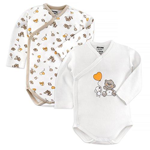 Jacky 2er Set Baby Body/Langarm Wickelbody/Unisex / 100% Baumwolle/Weiß/Beige/Öko-Tex schadstoffgeprüft...