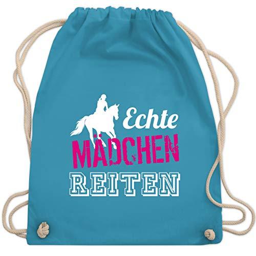 Shirtracer Pferde & Reiten Kind - Echte Mädchen reiten - Unisize - Hellblau - turnbeutel mädchen - WM110 -...