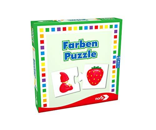 Noris 608985664 Farben Puzzle spielerisches Lernen Reise-und Mitbringspiel, Spielzeug für 1 bis 4 Spieler ab...