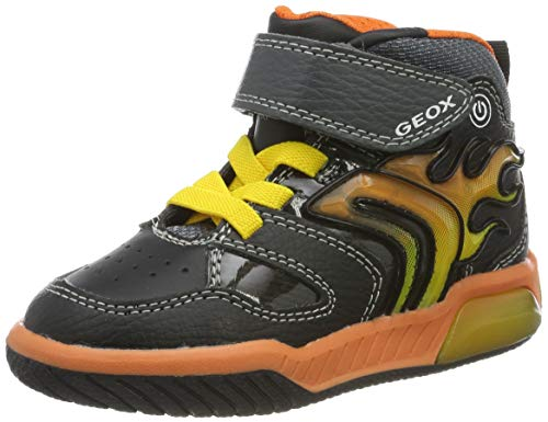 Geox J INEK Boy C Sneaker, Black/Orange, 30 EU