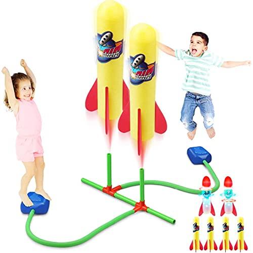 Rakete Spielzeug Duell, Druckluftrakete, Raketeentwerfer Kinder Outdoor Spiele mit 4 Normal + 2 Leuchtende...