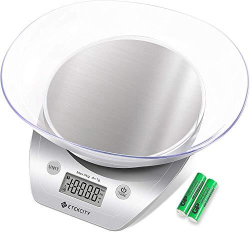 ETEKCITY Küchenwaage Digitalwaage Elektronische Waage mit Abnehmbarer Schüssel, 5KG/11lb, Küchenwaage aus...