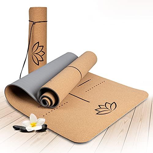 Wellax Yogamatte Kork - 100% natürliche Yogamatte rutschfest [183x66x0,6 cm] - Besonders dick &...