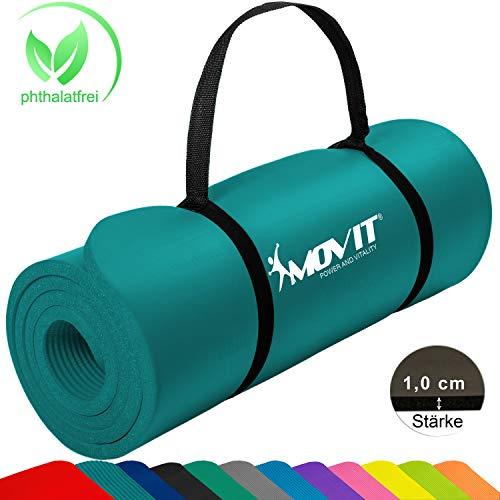 Movit Pilates Gymnastikmatte, Yogamatte, phthalatfrei, SGS geprüft, 183 x 60 x 1,0cm, Yoga Matte in Petrol