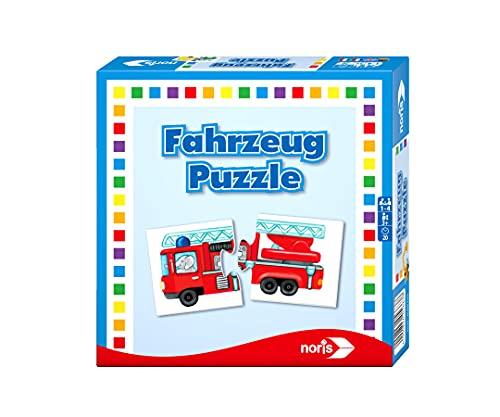 Noris 608985663 Fahrzeug Puzzle, das Memo Spiel mit bekannten Fahrzeugen aller Art, Reise und Mitbringspiel,...