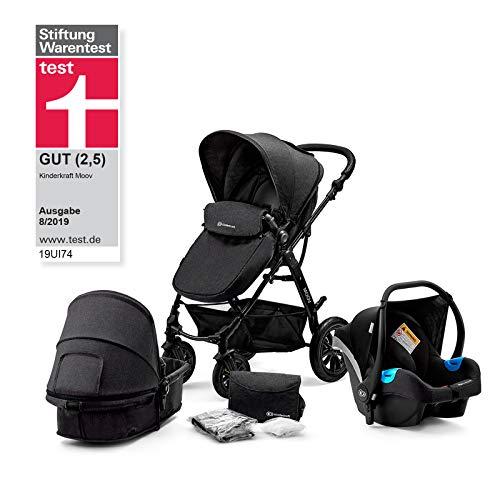 Kinderkraft Kinderwagen 3 in 1 MOOV, Kinderwagenset, Sportwagen, Buggy und Tragewanne in Einem, Babyschale,...
