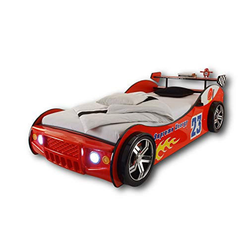 ENERGY Autobett mit LED-Beleuchtung 90 x 200 cm - Aufregendes Auto Kinderbett für kleine Rennfahrer in Rot -...