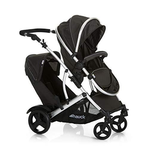 Hauck Duett 2 Geschwisterwagen bis 36 kg, Zwillingsbuggy mit Babywanne ab Geburt umbaubar zur drehbaren...
