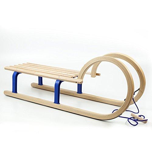 Holzfee Hörnerschlitten 100 cm Colint Baran Blue Schlitten + Zugseil