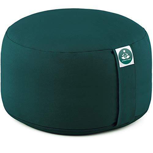 Present Mind Yogakissen Rund Extra Hoch (Sitzhöhe 20 cm) l Farbe: Smaragdgrün l Yogakissen Meditationskissen...