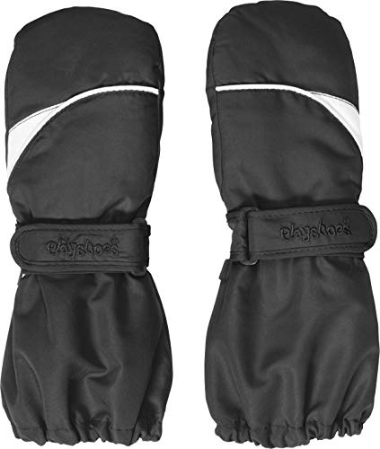 Playshoes Kinder - Unisex 1er Pack warme Winter-Handschuhe mit Klettverschluss Fäustling, Schwarz (Schwarz...