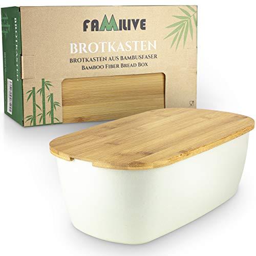 Brotbox Bambus - 2 in 1 Brotkasten Weiß mit Schneidebrett - sehr praktische Brot Aufbewahrungsbox Holz -...