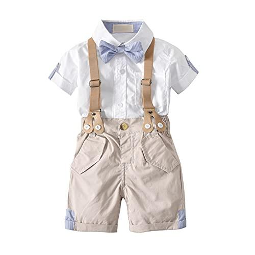 I3CKIZCE 2 Teilig Baby kleinkind Jungen Sommer Anzug Kurzarm-T-Shirt mit Krawatte + Kurze Hose mit Träger...