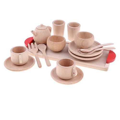 B Blesiya 16 Stück Kleine Küchenspielzeug Teeservice Küchengeschirr aus Holz, Kinder Rollenspielzeug, 1...