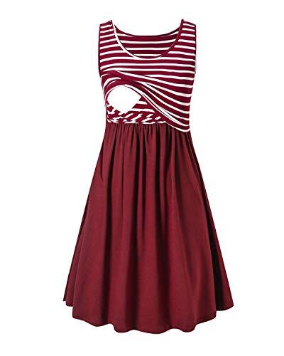 Love2Mi Damen Umstandskleid Streifen Stillkleid Ärmellos Schwangere Sommerkleid-Weißer Streifen / Weinrot-M