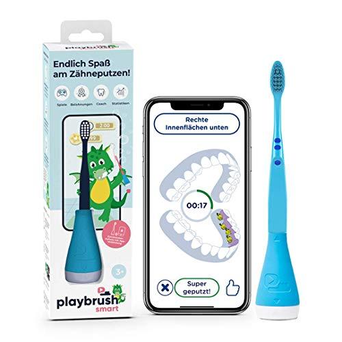 Playbrush Smart, smarte Kinder-Zahnbürste mit Apps zum spielerischen Erlernen des Zähneputzens (Blau)