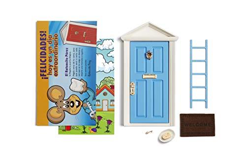 Die Zahnfee Magische Tür BLAU + Leiter + Schlüssel + Fußmatte + Teller + Käse + Glückwunschkarte...