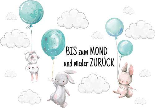 Szeridan Kaninchen 'Bis zum mond...' Hase Ballons Wolken Tiere Wandtattoo Babyzimmer Wandsticker Wandaufkleber...
