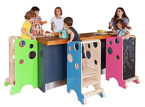 Leea Spielturm, Lernturm. Hocker, Tisch, Hochstuhl, Rutsche, Kreidetafel, Magnettafel (NATURHOLZ)