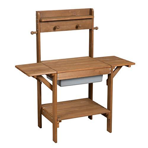 roba Matschküche Midi, Kinder-Outdoor-Gartenküche aus wetterfestem Massivholz, Spielküche inkl. Spielwanne...