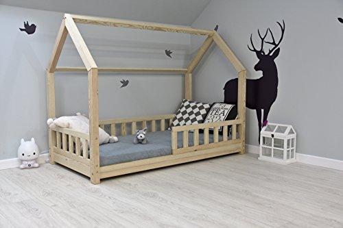 Best For Kids Kinderbett Kinderhaus mit Rausfallschutz Jugendbett Natur Haus Holz Bett mit oder ohne 10 cm...