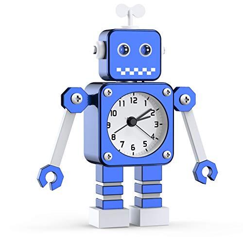 Kinderwecker Jungen, Roboter Wecker Kinder Analoge Wecker Ohne Ticken Lautloser Wecker für Jungs Mädchen...