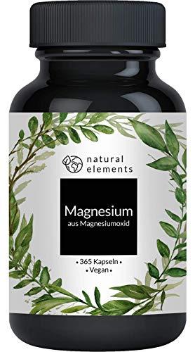 Magnesium - 365 Kapseln - 665mg, davon 400mg elementares Magnesium pro Kapsel - Laborgeprüft, hochdosiert,...