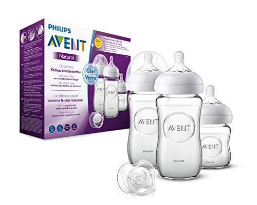 Philips Avent Natural Flaschenset SCD303/01, für Neugeborene aus Glas, transparent, 3 Flaschen und Schnuller,...
