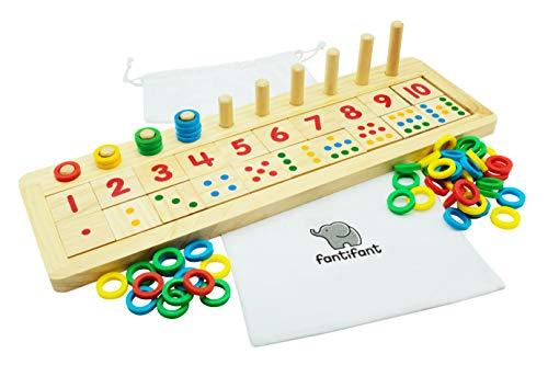 Fantifant Zahlenlernspiel: Großes Zahlen- und Rechenspielbrett aus Holz