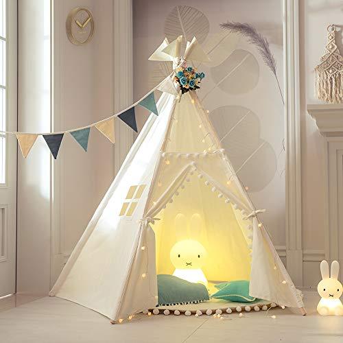 TreeBud Kinder Tipi Zelt mit Matte, fünf Pole Indische Spielzelte Kleinkinder Jungen Mädchen Spielhaus Pom...