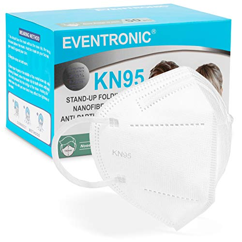 [50 Stück] FFP2 Maske CE 2797 Zertifiziert,Eventronic 5-Lagen hygienische,Atemschutz hohe Filtration,...