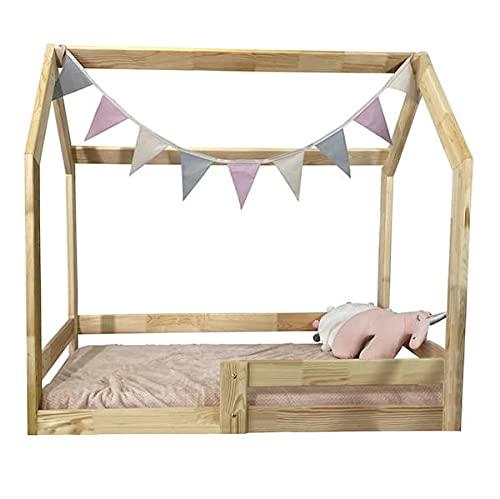 (80x160 cm) NeedSleep® Hubi Hausbett Kinderbett Holzhaus Kinder Bett Bodenbett | Hausbett mit Rausfallschutz...