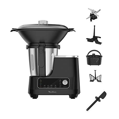 Moulinex HF4568 Click Chef Küchenmaschine mit Kochfunktion (1400 Watt, 12 Geschwindigkeitsstufen,...