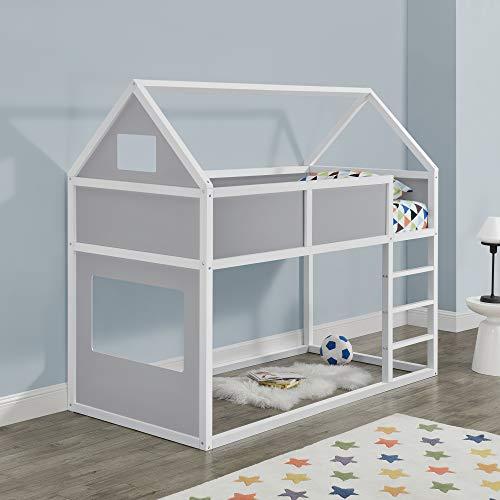 Kinder Hochbett mit Leiter 90x200cm Etagenbett mit Lattenrost Haus-Optik Bettenhaus für Jugendliche Hausbett...