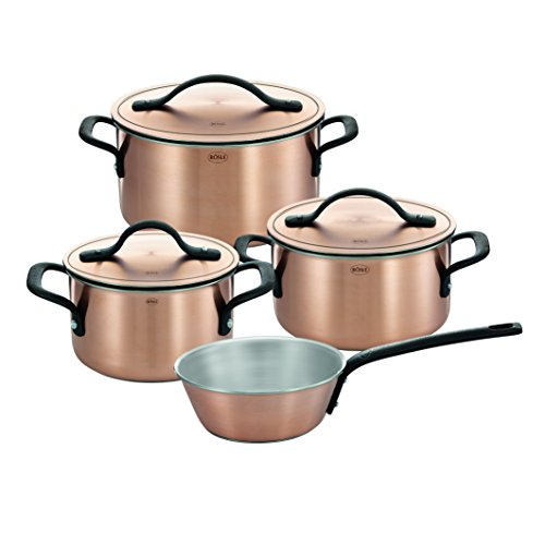 RÖSLE CHALET Topfset, 4-tlg., Kupfer-Mehrschichtmaterial, matt, mit Deckel, Kochtopf, Sauteuse,...