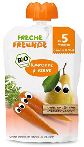 FRECHE FREUNDE Bio Beikost-Quetschie Karotte & Birne, Babynahrung ab dem 5. Monat mit Gemüse, glutenfrei &...
