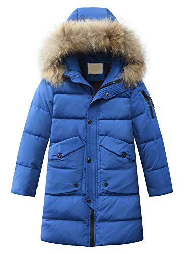 Mallimoda Jungen Winterjacke mit Kapuze Kinder Daunenjacken Lange Mantel Parka Outerwear Blau 6-7...
