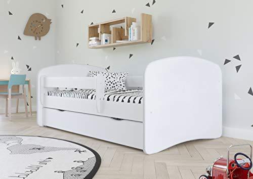 Bjird Kinderbett Jugendbett 70x140 80x160 80x180 Weiß mit Rausfallschutz Schublade und Lattenrost...
