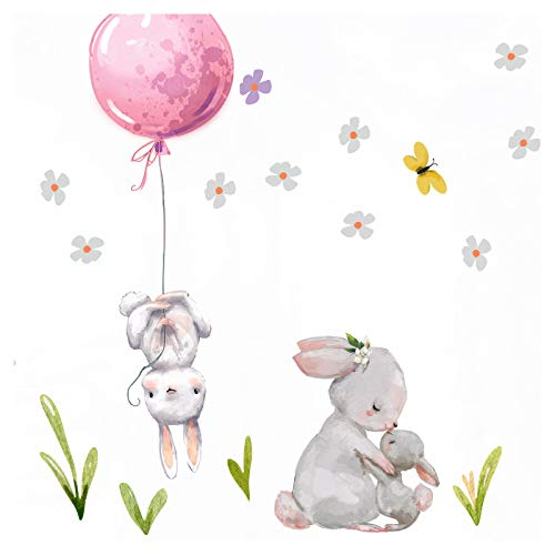 Little Deco Aufkleber Mädchen Kinderzimmer Hasen mit rosa Ballon Sterne Wandaufkleber Wandtattoo Tier Familie...