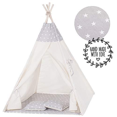 SPRINGOS Kinder Teepee Tipi Zelt Wigwam mit Bodenmatte aus Baumwolle Kinderzelt Kinderzimmer Kinderspielzelt...