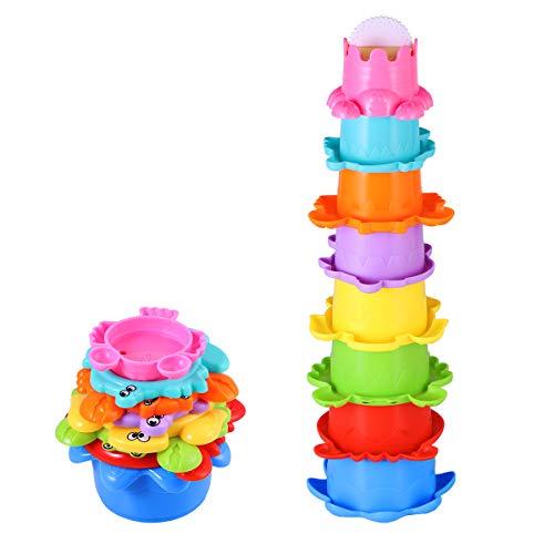 TOYMYTOY Baby Bad Spielzeug Set Stapelbecher Wasser 8PCS Abfliessen Becher Stapeln Spielzeug für Kinder BPA...