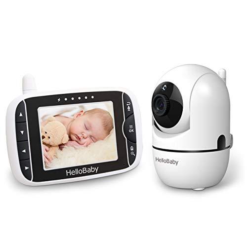 HelloBaby Video Babyphone mit Fernbedienung Pan-Tilt-Zoom,Temperaturüberwachung, Wiegenlied, Zwei-Wege-Audio,...
