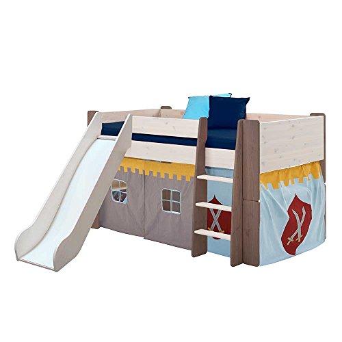 Pharao24 Ritter Kinderbett mit Vorhang halbhoch