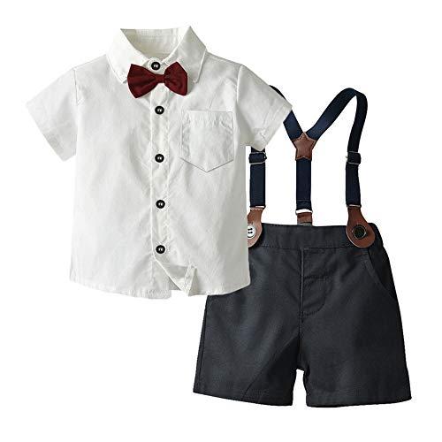 WANLN Kleinkind Kleine Jungen Kurz Sleeve Bowtie Shirts Mit Strapsen Hosen Genterman Kleidung Outfits Anzüge...
